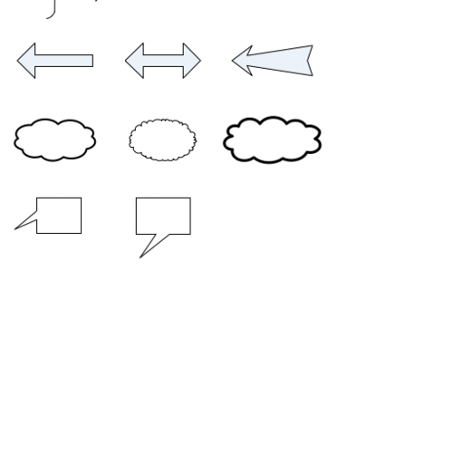 Basic shapes (curly brace, clouds, block arrows)