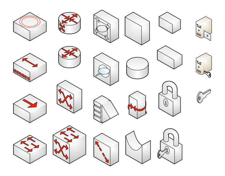 network symbols  isometric
