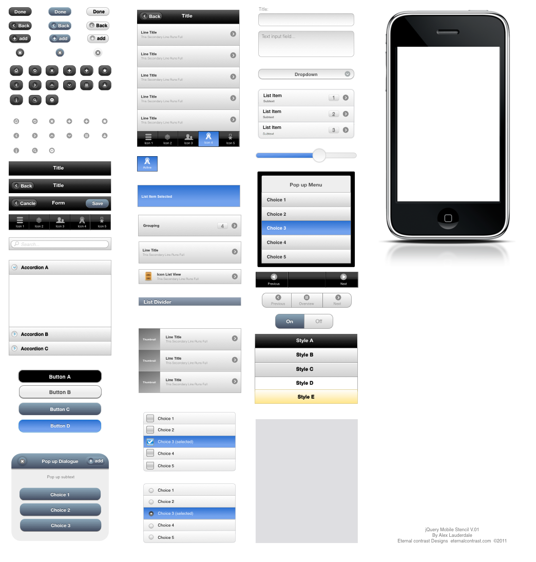 jQuery Mobile UI Elements OmniGraffle Stencil   Graffletopia